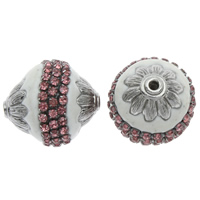 Indonesia Beads, Zinc Alloy, with Indonesia, antique silver color plated, with rhinestone, lead & cadmium free, 23x22mm, Hole:Approx 2mm, Sold By PC
