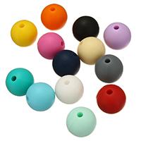 Силиконовые шарики, Силикон, Круглая, Одобрение FDA, Много цветов для выбора, не содержит никель, свинец, 15mm, отверстие:Приблизительно 2mm, 100ПК/сумка, продается сумка