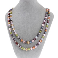 Natural Freshwater Pearl Long Necklace, Potato, multi-colored, 8-9mm, Sold Per Approx 47 Inch Strand