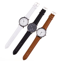 Men Wrist Watch, PU, with zinc alloy dial & Glass, stainless steel buckle, plumbum black color plated, adjustable & for man, more colors for choice, nickel, lead & cadmium free, 40mm, 20mm, Length:Approx 8.7 Inch, Sold By PC