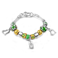European Bracelet, Brass, with Lampwork, plated, with 925 logo & enamel & with rhinestone, lead & cadmium free, 15mm, Length:Approx 8 Inch, 10Strands/Bag, Sold By Bag