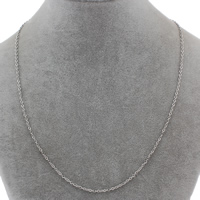 Stainless Steel Chain Necklace oval chain original color 2x3x0.20mm Sold Per Approx 18 Inch Strand