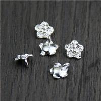 Кулоны из серебра, Серебро 925 пробы, Форма цветка, 8.10x8.80mm, отверстие:Приблизительно 2mm, 20ПК/Лот, продается Лот