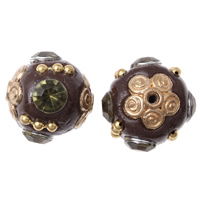 Indonesia Beads, Zinc Alloy, with Indonesia, gold color plated, with rhinestone, lead & cadmium free, 15x18mm, Hole:Approx 1mm, Sold By PC
