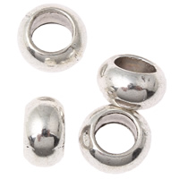 Zinc Alloy European Beads, Rondelle, antique silver color plated, without troll, lead & cadmium free, 5x9mm, Hole:Approx 6mm, 100G/Bag, Sold By Bag