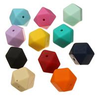 Koraliki silikonowe, Silikon, Zatwierdzenia przez FDA, dostępnych więcej kolorów, 17x17x17mm, otwór:około 2mm, 50komputery/torba, sprzedane przez torba