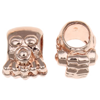 Zinc Alloy European Beads, Octopus, rose gold color plated, without troll, lead & cadmium free, 8x10x7.50mm, Hole:Approx 5mm, 20PCs/Bag, Sold By Bag