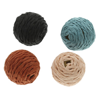 Woven Beads, Nylon Cord, with Wood, Round, handmade, more colors for choice, 22x21mm, Hole:Approx 3mm, 100PCs/Bag, Sold By Bag