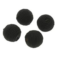 Тканые бисер, нейлон, с деревянный, Круглая, Связанный вручную, крупное отверстие, черный, 22x21mm, отверстие:Приблизительно 4mm, 100ПК/сумка, продается сумка
