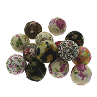 Woven Beads, Mixed Material, with Wood, Round, handmade, mixed colors, 24-25mm, Hole:Approx 3mm, 100PCs/Bag, Sold By Bag