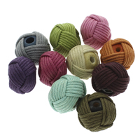Woven Beads, Waxed Linen Cord, with Wood, Round, handmade, mixed colors, 26x19mm, Hole:Approx 3mm, 100PCs/Bag, Sold By Bag