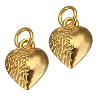 Brass Heart Pendants, real gold plated, nickel, lead & cadmium free, 9.50x12x5mm, Hole:Approx 3mm, 100PCs/Lot, Sold By Lot