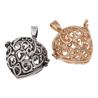Pregnant Ball Locket Pendant, Brass, Heart, plated, hollow, more colors for choice, lead & cadmium free, 28x27x23mm, Hole:Approx 4x7mm, Sold By PC