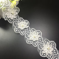Lace Trim, Polyester, with Plastic Pearl, Flower, white, 60mm, 75Yards/Lot, Sold By Lot
