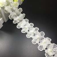 Lace Trim, Polyester, with Chiffon & Plastic Pearl, Bowknot, white, 60mm, 75Yards/Lot, Sold By Lot