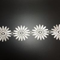 Lace Trim, Polyester, Flower, white, 62mm, 75Yards/Lot, Sold By Lot