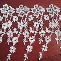 Lace Trim, Polyester, Flower, white, 190mm, 75Yards/Lot, Sold By Lot