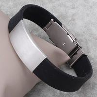 Men Bracelet, Stainless Steel, with Silicone, 17x35x4mm, Sold Per Approx 7.5 Inch Strand