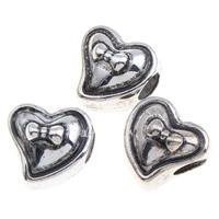 Пластик с медным покрытием бусины Европейская стиль, Сердце, плакированный цветом под старое серебро, без Тролль, 13x13x12mm, отверстие:Приблизительно 4mm, 1000ПК/сумка, продается сумка