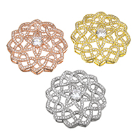 Cubic Zirconia Micro Pave Brass Connector Flower plated micro pave cubic zirconia   multi loops nickel lead   cadmium free 31x31x8mm Hole:Approx 2x2.5mm 5PCs/Lot