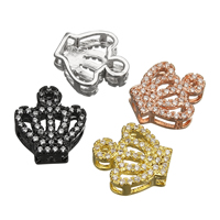 Cubic Zirconia Micro Pave Brass Beads Crown plated micro pave cubic zirconia nickel lead   cadmium free 11.50x12x4mm Hole:Approx 1.5mm 20PCs/Lot