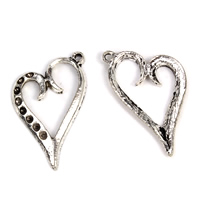 Zinc Alloy Pendant Rhinestone Setting Heart antique silver color plated lead   cadmium free 17x27x2mm Hole:Approx 1mm Inner Diameter:Approx 1mm 100G/Bag