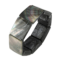 Черная ракушка браслет, Прямоугольная форма, натуральный, 24-26x19-21x6-8mm, длина:Приблизительно 8 дюймовый, 3пряди/Лот, продается Лот