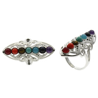 Natural Gemstone Finger Ring Brass with Gemstone platinum color plated lead   cadmium free 20x39x25mm US Ring Size:8 10PCs/Bag