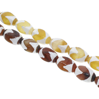 Tibetan Agate Beads, Oval, more colors for choice, 12x18mm, Hole:Approx 1.5mm, Length:Approx 14.5 Inch, 5Strands/Bag, Approx 26PCs/Strand, Sold By Bag
