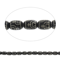 Tibetan Agate Beads, Column, black, 13x18mm, Hole:Approx 1.5mm, Length:Approx 14 Inch, 5Strands/Bag, Approx 21PCs/Strand, Sold By Bag