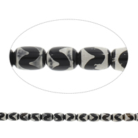 Tibetan Agate Beads, Column, black, 13x18mm, Hole:Approx 1.5mm, Length:Approx 14.5 Inch, 5Strands/Bag, Approx 22PCs/Strand, Sold By Bag
