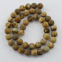 Natural Picture Jasper Beads, Round, different size for choice & frosted, Hole:Approx 1-2mm, Length:Approx 15.5 Inch, Sold By Lot
