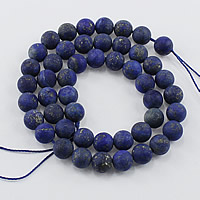 Natural Lapis Lazuli Beads, Round, different size for choice & frosted, Hole:Approx 1-2mm, Length:Approx 15.5 Inch, Sold By Lot