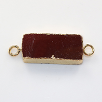 Agate Connector, Brass, with Ice Quartz Agate, Rectangle, gold color plated, natural & 1/1 loop, nickel, lead & cadmium free, 36x12x5mm, Hole:Approx 3mm, 10PCs/Lot, Sold By Lot