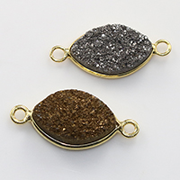 Druzy Connector Brass with Ice Quartz Agate Horse Eye gold color plated natural   druzy style   1/1 loop nickel lead   cadmium free 27-29x12-14x5-7mm Hole:Approx 2mm 10PCs/Lot