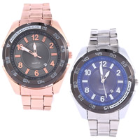 Men Wrist Watch, Stainless Steel, with Glass, plated, more colors for choice, nickel, lead & cadmium free, 45mm, Length:Approx 8.6 Inch, Sold By PC
