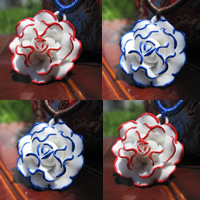 Porcelain Pendants, Flower, glazed, more colors for choice, 15-30mm, Hole:Approx 1-3mm, Sold By PC