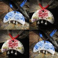 Фарфор Кулоны, фарфор, с железо Белл, Луна, рука рисунок., Много цветов для выбора, 20-40mm, отверстие:Приблизительно 1-3mm, продается PC