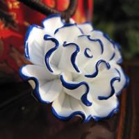 Фарфор Кулоны, фарфор, Форма цветка, рука рисунок., 15-30mm, отверстие:Приблизительно 1-3mm, продается PC