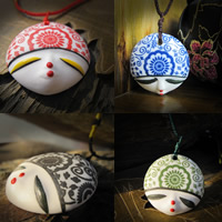 Porcelain Pendants, Flat Round, hand drawing, more colors for choice, 20-25mm, Hole:Approx 1-3mm, Sold By PC