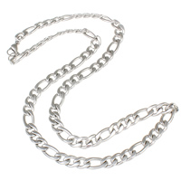 Stainless Steel Chain Necklace figaro chain original color Sold Per Approx 21 Inch Strand
