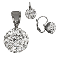 Stainless Steel Jewelry Sets, pendant & earring, with Rhinestone Clay Pave, original color, 12x16mm, 10x16x16mm, Hole:Approx 5.5x8mm, 20Sets/Lot, Sold By Lot
