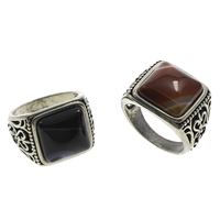 Agate Finger Ring Brass with Lace Agate Rectangle antique silver color plated dyed nickel lead   cadmium free 22x26x17mm US Ring Size:9.5 Approx 10PCs/Bag