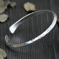 925 Sterling Silver Cuff Bangle, 4.6mm, Inner Diameter:Approx 50mm, Length:Approx 6 Inch, Sold By PC