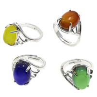 Agate Finger Ring Brass with Agate Flat Oval platinum color plated different materials for choice   adjustable nickel lead   cadmium free 20x26x16mm US Ring Size:7 5PCs/Bag