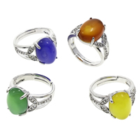 Agate Finger Ring Brass with Agate Flat Oval platinum color plated different materials for choice   adjustable   micro pave cubic zirconia nickel lead   cadmium free 21x26x14mm US Ring Size:7 5PCs/Bag