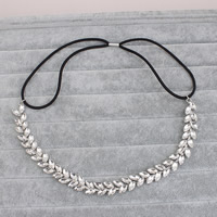 Zinc Alloy Headband, with nylon elastic cord & Crystal, silver color plated, for bridal & faceted, lead & cadmium free, 13mm, Sold By PC