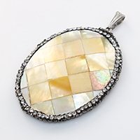 Natural Yellow Shell Pendants with brass bail   Rhinestone Clay Pave   White Shell Flat Oval platinum color plated mosaic 34x47x5mm Hole:Approx 3.5x7.5mm 5PCs/Lot
