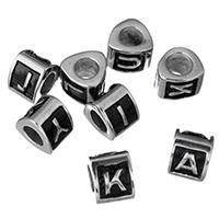 RVS European Beads, Roestvrij staal, Driehoek, met brief patroon & zwart maken, 7x10x9mm, Gat:Ca 5mm, 5pC's/Lot, Verkocht door Lot