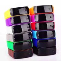 LED horloges, Silicone, met Plastic, roestvrij staal snap sluiting, verstelbaar, meer kleuren voor de keuze, 50x21mm, Lengte:Ca 9 inch, Verkocht door PC